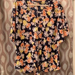 Floral, Tie Front Blouse